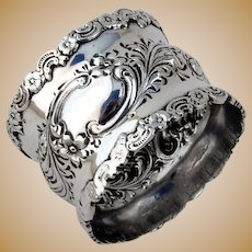Ornate Napkin Ring Sterling Silver 1900