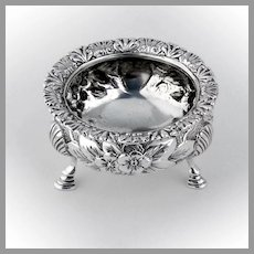 Floral Repousse Open Salt Dish Sterling Silver Black Starr and Frost