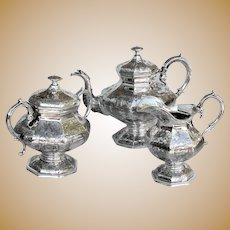 Chinoiserie Design Tea Set John Chandler Moore Baldwin Gardiner 3 piece Coin Silver 1835