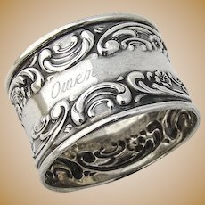Rose and Scroll Napkin Ring Sterling Silver Gorham