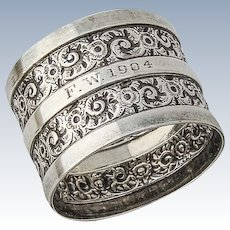 Ornate Napkin Ring Sterling Silver Sheffield 1881