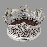 Ornate Wine Champagne Coaster Sterling Silver London 1861