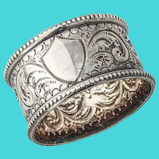 Ornate Napkin Ring Scroll Chased Decorations Sterling Silver Chester 1903