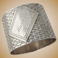 Basket Weave Napkin Ring Coin Silver 1870