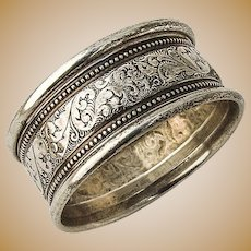 Napkin Ring Scroll and Bead Design Sterling Silver Alvin