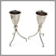 Tripod Footed Shots 2 Sterling Silver Mexico 1960