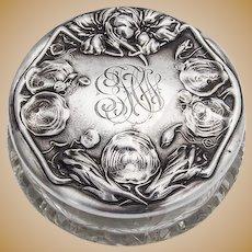 Art Nouveau Large Dresser Jar Sterling Silver Cut Crystal 1900