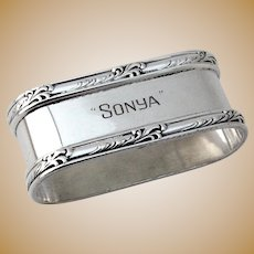 Oval Napkin Ring Currier and Roby Sterling Silver Sonya