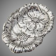 Ornate Pin Tray Art Nouveau Floral Design Sterling Silver 1900