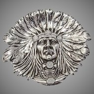 Indian Chief Pin Tray Sterling Silver Unger Brothers 1900