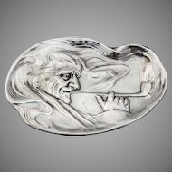 Pin Tray Man Smoking a Pipe Sterling Silver Unger Brothers