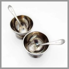 Open Salt Dishes 2 Spoons 2 Engine Turned Coin Silver Peter L Krider 1860