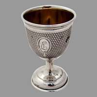 Egg Cup Engine Turned Design Coin Silver 1870