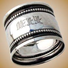 Napkin Ring Sterling Silver Beaded Rims
