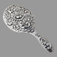 Ornate Repousse Hand Mirror Howard and Co Sterling Silver 1890