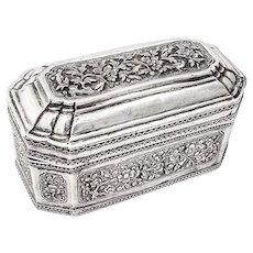 Ornate Asian Casket Sterling Silver Hand Made 1900