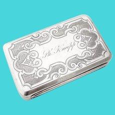 Snuff Box Engine Turn Decorations Coin Silver Gorham Silversmiths 1870