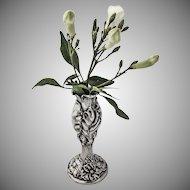 Art Nouveau Bud Vase Sterling Silver Floral Designs 1900