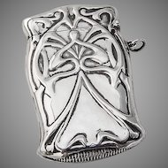 Large Match Safe Box Art Nouveau Style Sterling Silver