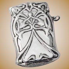 Large Match Safe Box Art Nouveau Style Sterling Silver