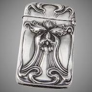 Art Nouveau Match Safe Box Vesta Daffodil Sterling Silver Unger Brothers
