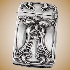Art Nouveau Match Safe Box Vesta Daffodil Sterling Silver Unger Brothers