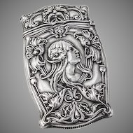 Art Nouveau Match Safe Box Strike Vesta Sterling Silver Gorham