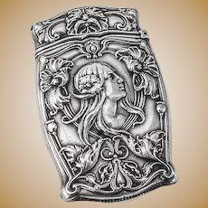 Art Nouveau Match Safe Box Strike Vesta Sterling Silver Gorham