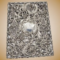 Ornate Book or Journal Cover Sterling Silver Dominick and Haff 1900