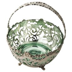 Swing Handle Basket Sterling Silver Open Work Baroque Decorations