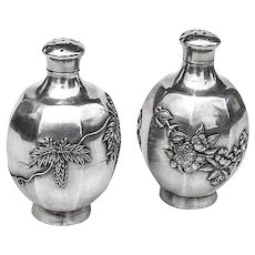 Chinese Export Salt and Pepper Shakers Sterling Silver