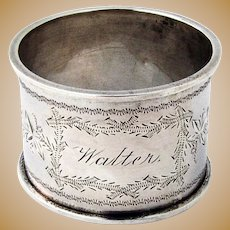 Napkin Ring Floral Bright Cut Coin Silver 1880