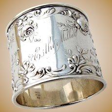 Rose Scroll Napkin Ring Sterling Silver Gorham 1900