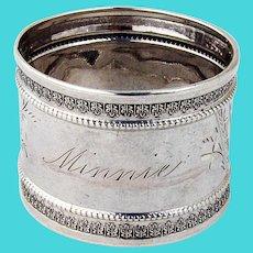 Napkin Ring Aesthetic Design Coin Silver 1880