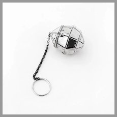 Octagonal Tea Ball Sterling Silver 1900