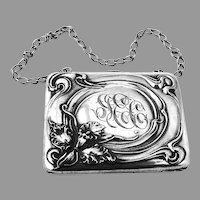 Art Nouveau Purse Orchid Design Sterling Silver Unger Brothers 1900
