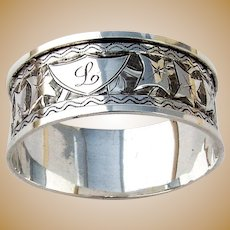 Napkin Ring Ivy Engraved Decorations Sterling Silver Birmingham 1896
