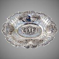 Ornate Serving Bowl Center Piece Cherub Decorations 800 Silver