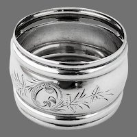 Napkin Ring Aesthetic Style Engraved Floral Decorations Sterling Silver