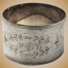 Napkin Ring Coin Silver Floral Engraved Designs 1890