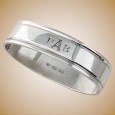 Oval Napkin Ring Heavy Weight Sterling Silver Denmark Hingelberg