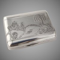 Snuff Box Sterling Silver Acid Etched Japanese Garden John Chatellier 1920