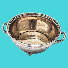 Open Salt Dish Engine Turned Design Coin Silver Gorham 1860