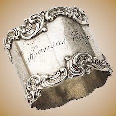 Napkin Ring Ornate Scroll Borders Sterling Silver Gorham 1890