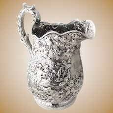 Large Water Pitcher Repousse Coin Silver 11 oz Kirk 1875