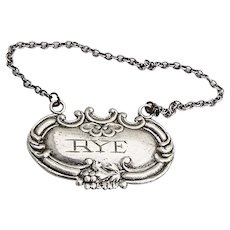 Rye Bottle Tag Ornate Repousse Floral Scroll Label Sterling Silver