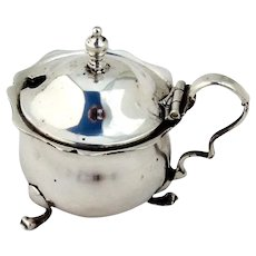 Mustard Pot Sterling Silver Cobalt Glass Liner E S Barnsley & Co 1919