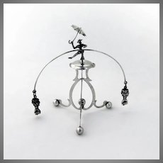 Whirligig Balancing Man with Umbrella Fig Gestures Sterling Silver