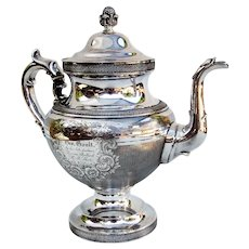 Large Tea Pot Sterling Silver Engine Turned Design Ball Black Co