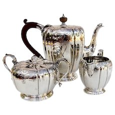 Tiffany Three Piece Tea Set Sterling Silver 1958